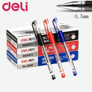 Deli 12Pcs/Box Gel Pens Set 0.5mm Black Blue Red Stationery Supplies for Student Teacher Learn School Office Family Accounting
