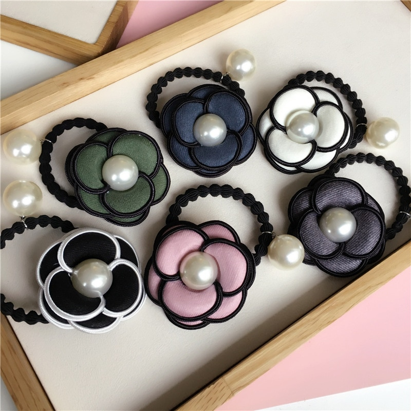 Moda tela calidad elástico accesorios para el cabello mujer Camelia perlas banda de mano niñas pelo joyería pelo Cola de Caballo diadema