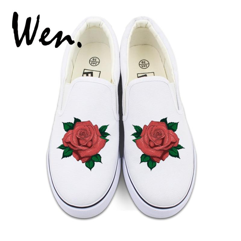Wen Mujer Zapatos de lona deslizantes flor diseño Original rosa roja baja plataforma plana zapatillas sin tirantes boca baja bamba