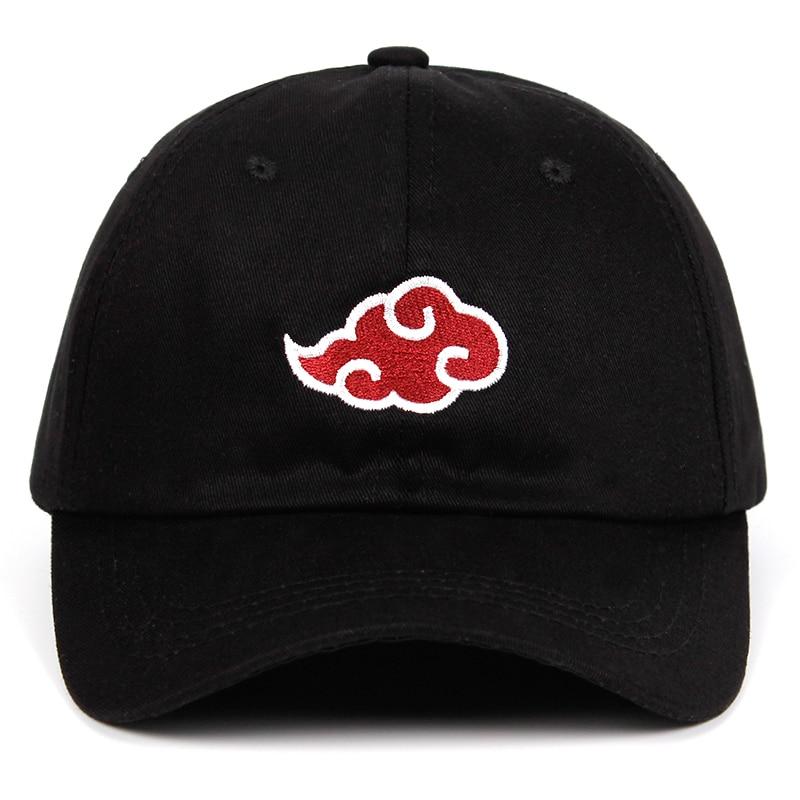 100% de algodón con logotipo de akatsuki Anime Naruto Dad Hat Uchiha logotipo de la familia bordado gorras de béisbol negro Snapback sombreros dropship