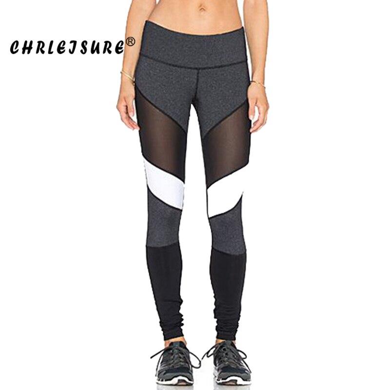 CHRLEISURE S-XL Color blanco negro mallas de Fitness de Patchwork Pantalones Legins de gran tamaño la elasticidad de las mujeres Leggings de malla de