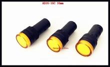 10-20 pçs/lote AC/DC 12 v, 24 v, 110 v, AC220V Amarelo AD16-16C 16mm Tamanho de Montagem LED Power Light Indicador de Sinal Piloto Lâmpada
