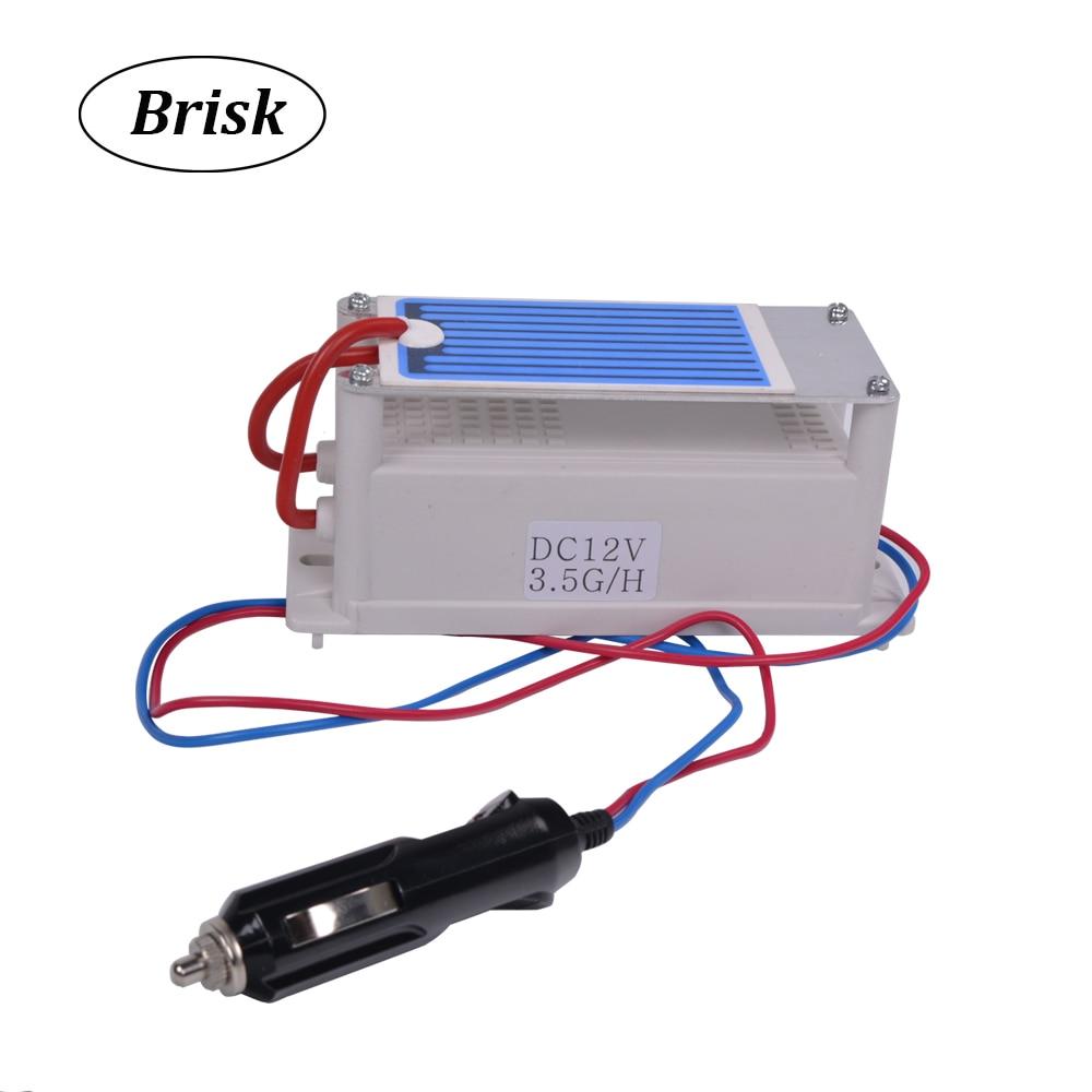 Brisk, lo más nuevo, 3,5g 12v, generador de ozono de cerámica portátil para coche, purificador de aire de ozono, doble larga vida, máquina desodorante de placa de ozono
