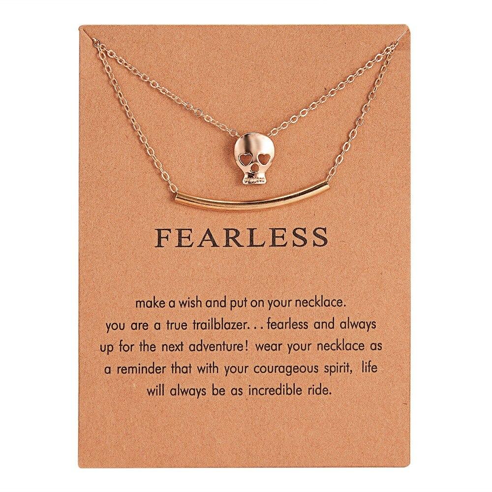 Mode Neue Gold Doppel Schicht Halskette Fearless Schädel Kopf Legierung Schlüsselbein Schlange Knochen Anhänger Kurze Halskette Frauen Freund Geschenk