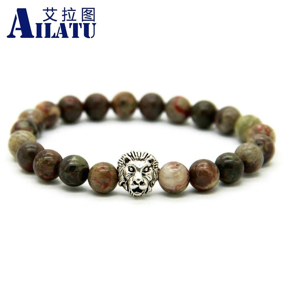 Nueva llegada de Ailatu pulsera de cabeza de león de Color plata...