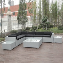9-pcs Terrasse Outdoor Rattan Sofa, UV Beständig Zeitgenössische Ecke Sofa