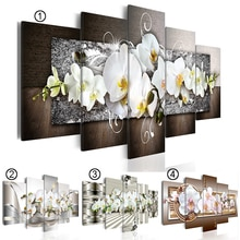 2019 heißer Verkauf Mode Wand Kunst Leinwand Malerei 5 Stück Abstrakte Diamant Orchidee Blume Moderne Dekoration Kein Rahmen (größe: 4)