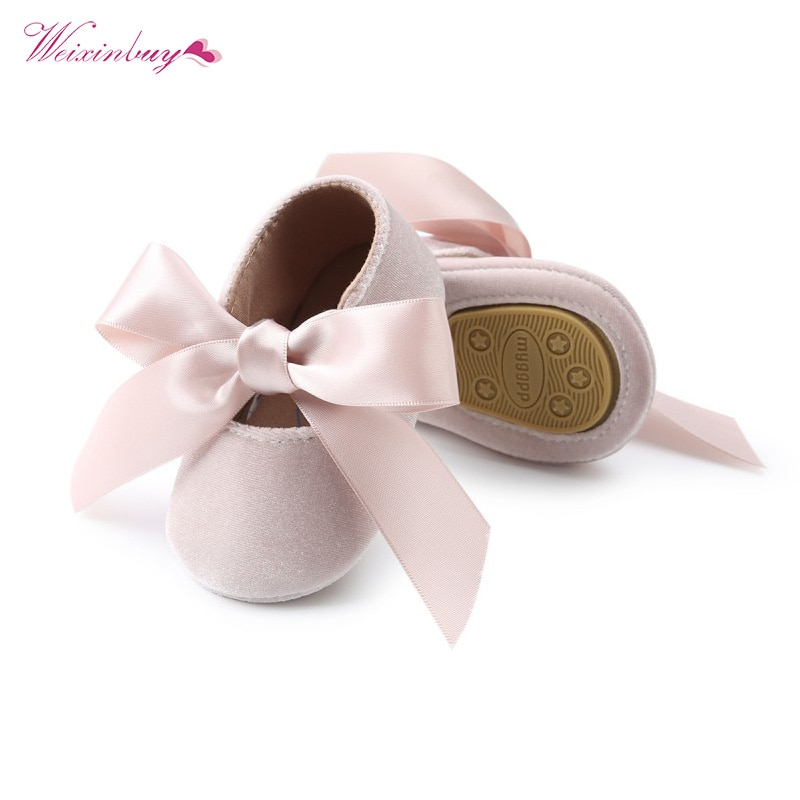 WEIXINBUY Baby Girl Shoes Riband Bow Lace Up PU Leather Princess First Walkers Newborn Moccasins