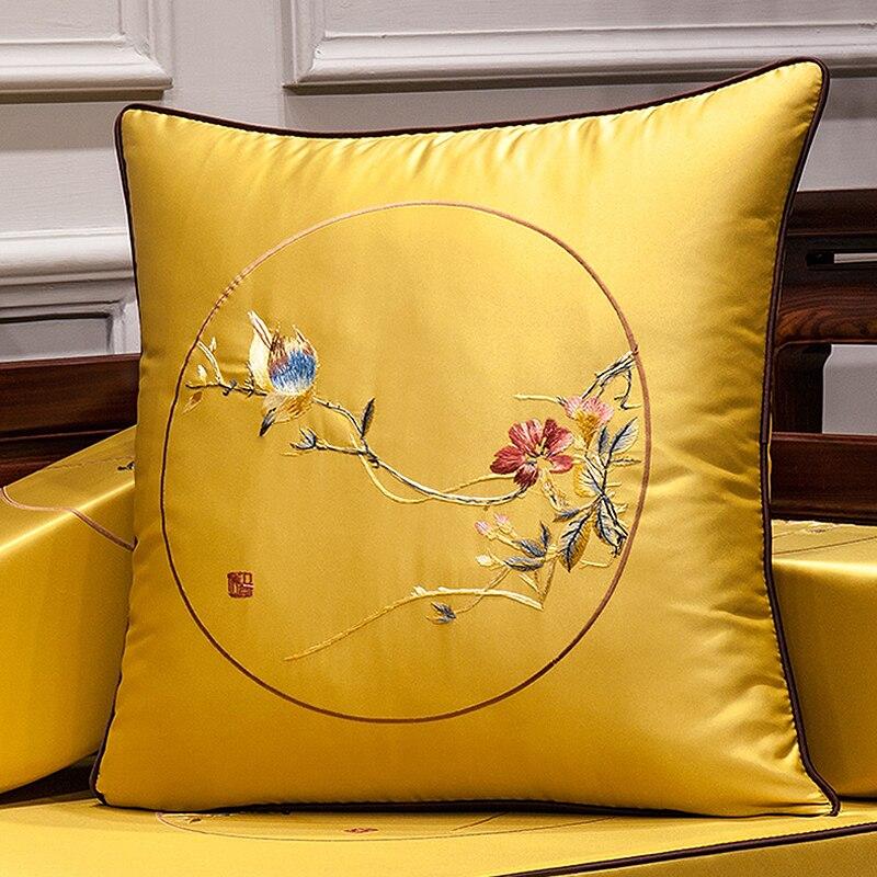 Funda de cojín DUNXDECO, funda de almohada decorativa, funda de almohada Vintage china tradicional espejo redondo pájaros Flora lujo arte bordado Coussin