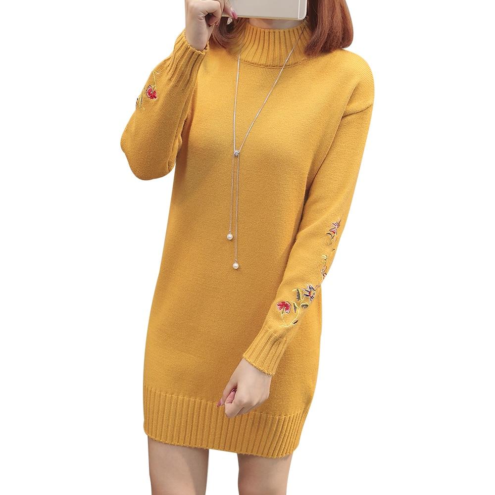 Nuevo 2018 otoño e invierno las mujeres largo suéter mujer Emroidery Floral Casual cálido Oversize flojo, Tops F53