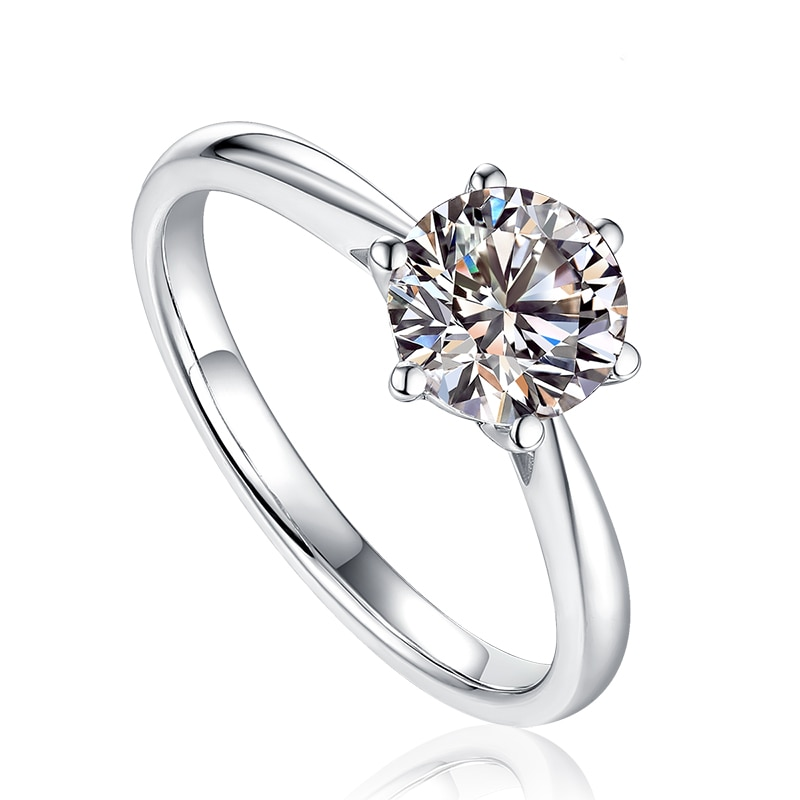 Solide 18 K Weiß Gold Runde Brillant Geschnitten 1 ct Moissanite 6 Prong Ring Solarite Labor Diamond Engagement Ring Für frauen