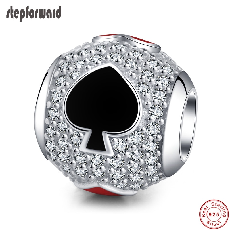 100% de plata 925 Real Poker pulseras con ajuste de encanto para mujer joyería de plata nueva llegada Top Popular calidad Shinning CZ pavimentado cuentas