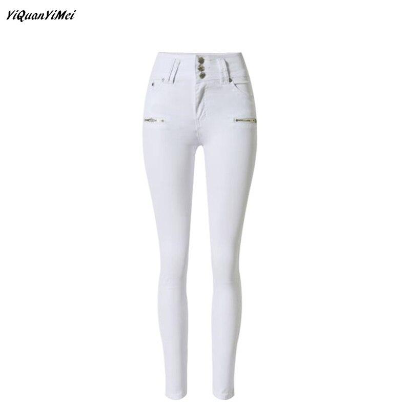 YiQuanYiMei Fashion Pencil Pants white jeans for woman Skinny high waist jeans woman denim pants capris Jean pantalon femme
