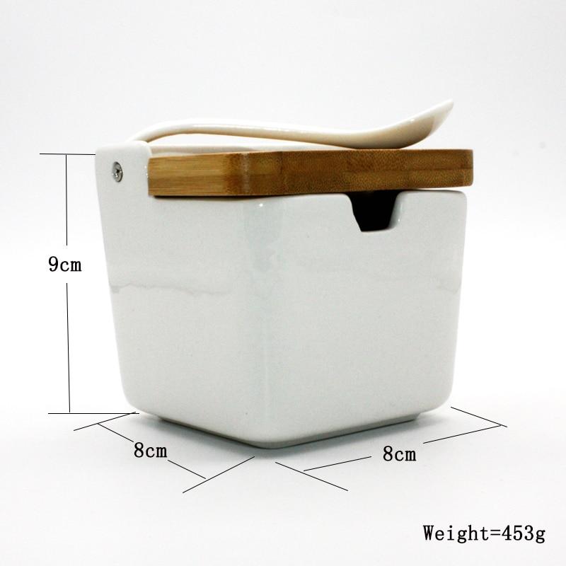 Caja de condimento de cerámica creativa, botella de condimento, tapa de madera y bambú japonés, conjunto de tanque de sal