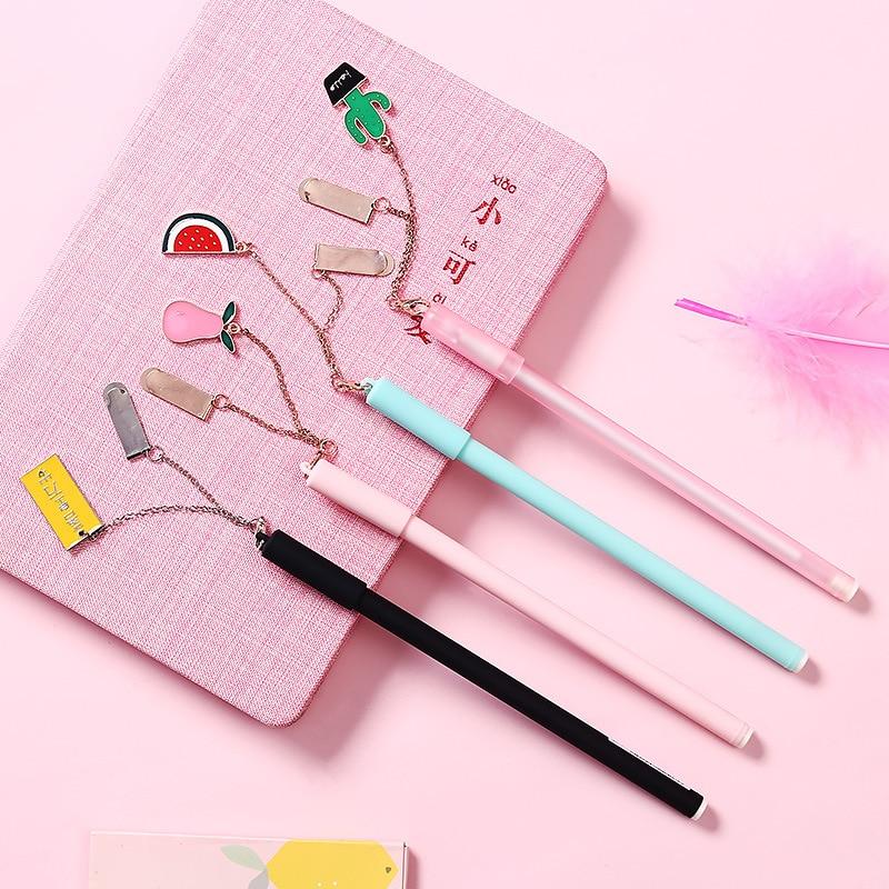 1pc Cute Kawaii Gel Pen for Kids Gift School Office Supplies Stationery Cartoon Watermelon Cactus Black Ink 0.5mm Bookmark Pens