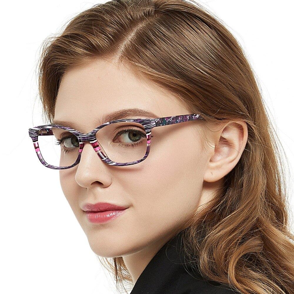 De moda a rayas marco claro de anteojos mujeres Vintage presbicia óptica anteojos para miopía gafas Nerd marco caja MARE AZZURO AMOS