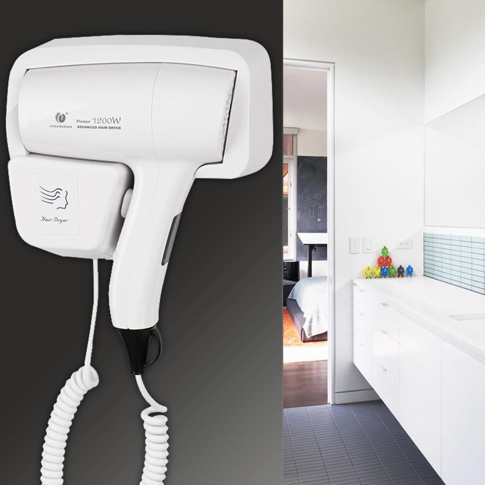 Secador casa hotel banho montagem na parede termostática secador de cabelo elétrico ventilador branco abs 1200w 220v