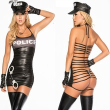 Costume dhalloween Sexy érotique Costume de Police serré trafic robes de flic Sexy Police vide dos Cosplay uniforme
