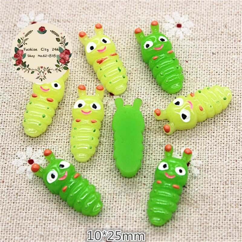 10 pçs kawaii resina animal silkworm bebê miniatura arte flatback cabochão diy artesanato scrapbooking, 10*25mm