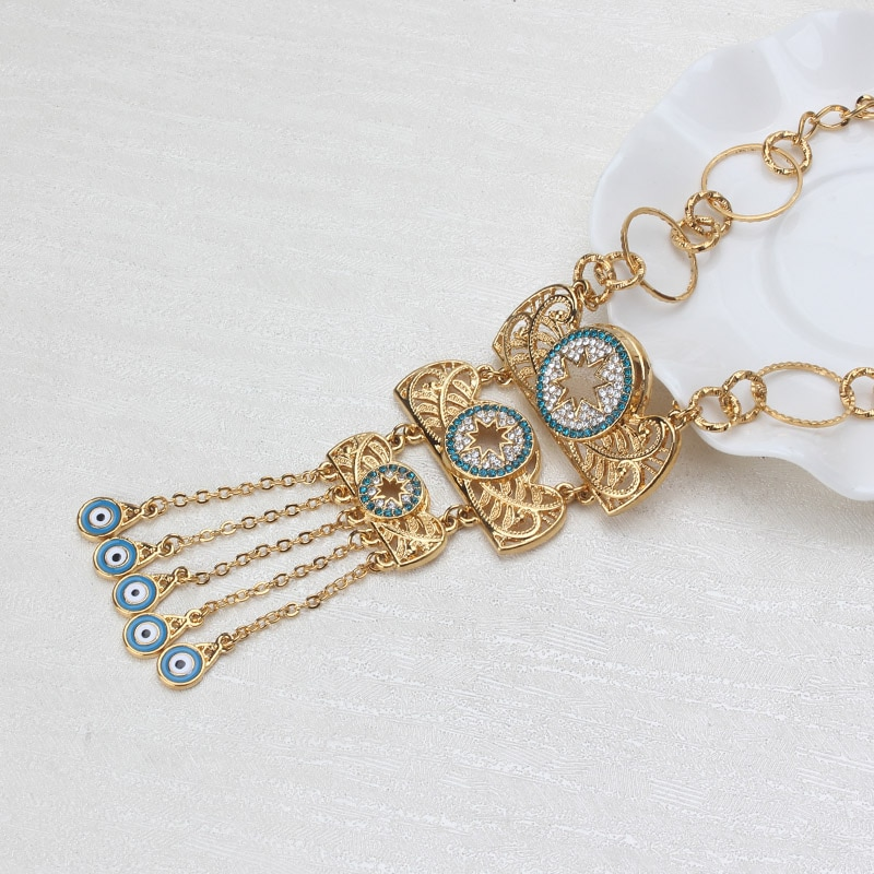 1pc pingente colar mal olho pesado metal corrente colar moda feminina jóias de cristal borla colar boêmio 5 estilos