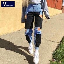 Vangull Harajuku Hip Hop Cargo pantalon femmes évider taille haute pantalon Streetwear Patchwork pantalons de survêtement dames Joggers 2019
