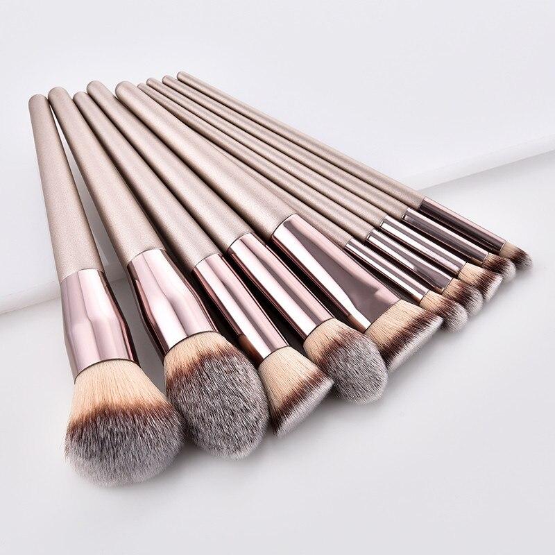 10pcs Champagne Makeup Brush Set Professional Foundation Blusher Eye Shadow Lips Make up Brush Cosmetic Kit pincel maquiagem