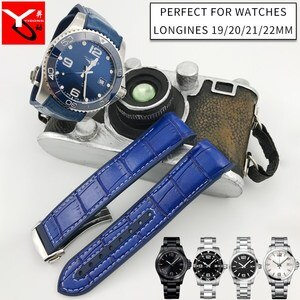 19mm 20mm 21mm 22mm Surface Nylon Surface Leather Bottom Silicone Watch Strap Folding Buckle Watchband Fit for Longines Watch