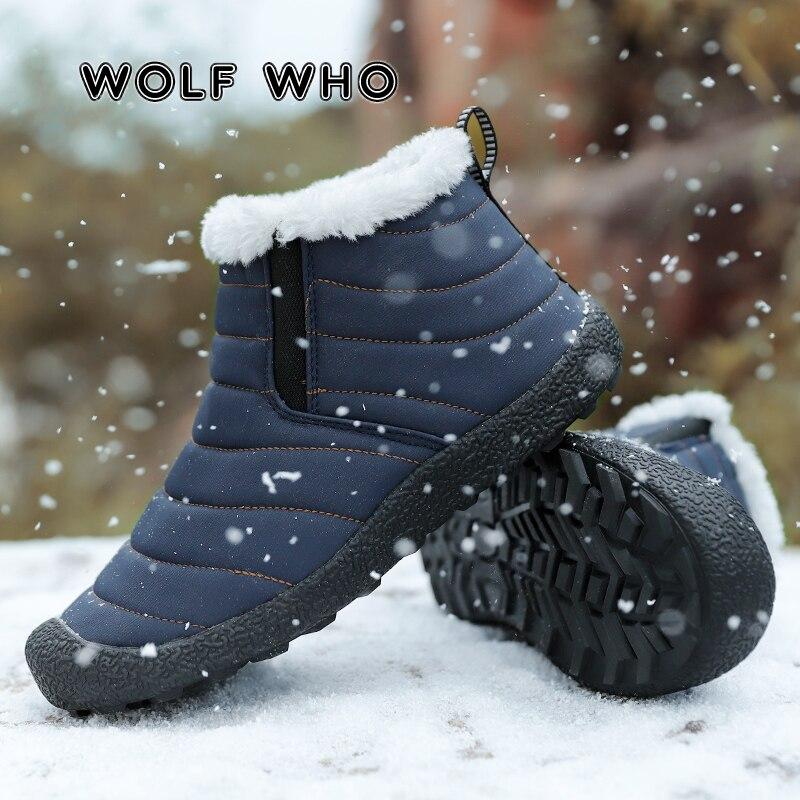 WOLF WHO Мужская зимняя обувь нового размера плюс, мужские водонепроницаемые однотонные зимние ботинки, плюшевые очень теплые лыжные ботинки с...