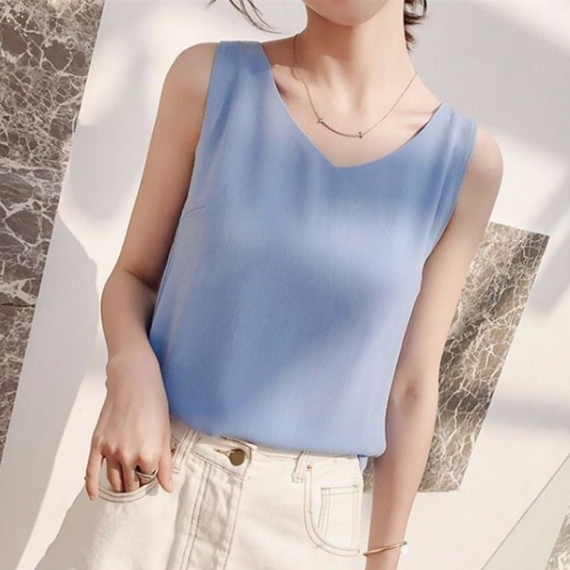 Women Tank Top Woman Chiffon Halter Top Plus Size Summer Sexy V Neck Sleeveless Tops Vest Female 2019 Korean OL Shirt Tops Women 2021 summer top women sleeveless lace tank top sexy women s t shirt vest tank tops female vest tops white black underwear women