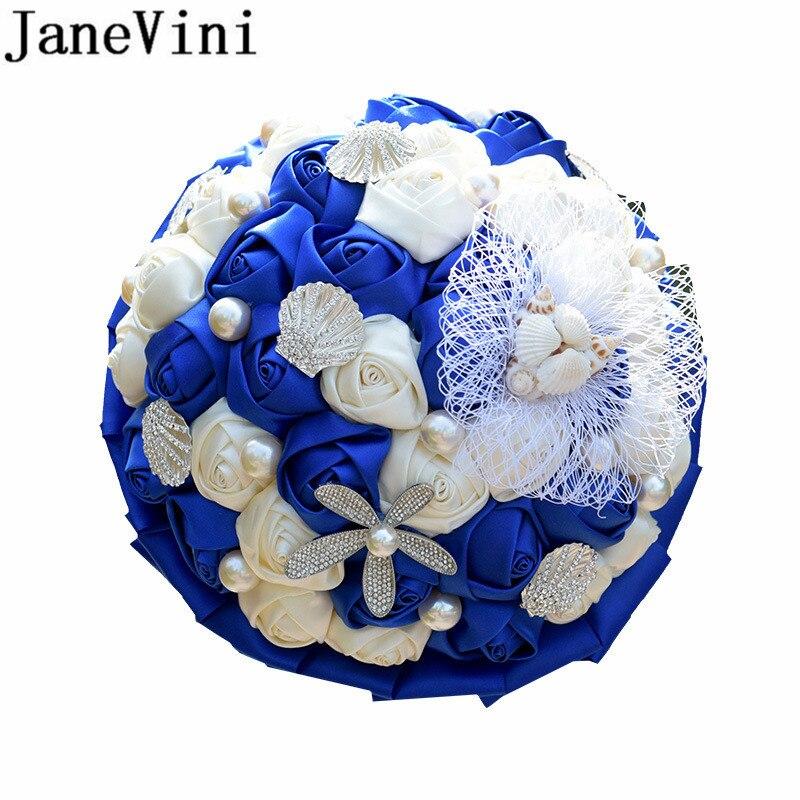Janovini elegante ramo De novia azul real De la boda ramo De novia De diamantes De imitación De satén Rosa Artificial broche De novia ramo De Marie