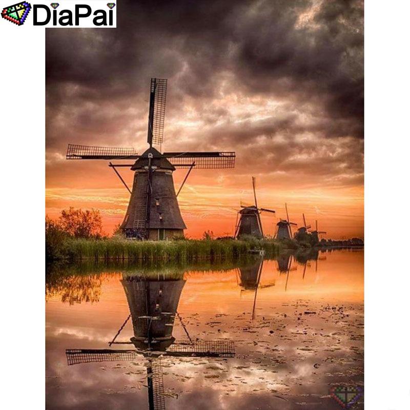"DIAPAI Diamond Painting 5D DIY 100% Full Square/Round Drill ""Windmill landscape"" Diamond Embroidery Cross Stitch 3D Decor A24679"