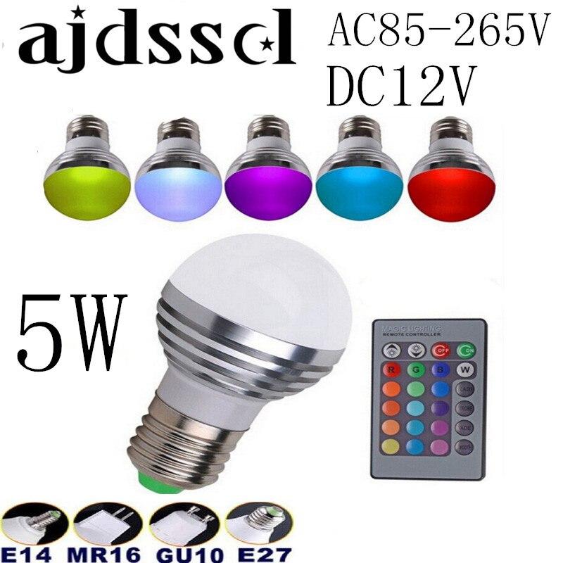 100PCS AC85V-265V E27 E14 GU10 MR16 RGB Bulb Candle lamp 5W LED RGB Spot light magic Christmas lighting+Remote Control 16 colors