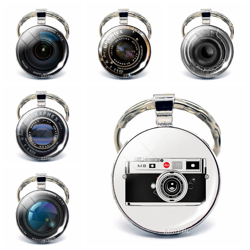 Llavero Vintage para lente de cámara, joyería cabujón de cristal a la moda, pendientes en forma de lente para cámara, llavero para hombre y mujer, regalos para fotógrafos