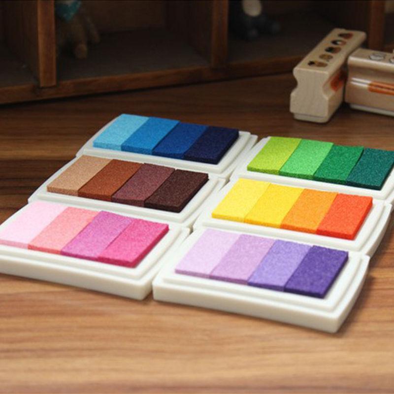 6 colores DIY gradiente de Color almohadilla de tinta multicolor sello de tampón decoración de huellas dactilares Scrapbooking Accesorios