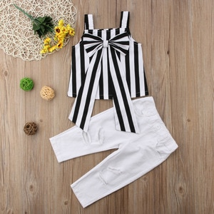 Summer Toddler Kids Baby Girl Tops Big bow Stripe Tops Ripped Pants Outfits Clothes 2PCS Set fashion Sleeveless Cotton Clothing
