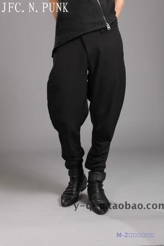 Nueva llegada de moda de hombre con cremallera disfraces de escenario ropa permanente prensa calidad pantalones harem con personalidad pantalones/28-33