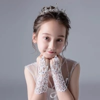 lace and diamond encrusted childrens dress gloves and fingerless girls dance gloves