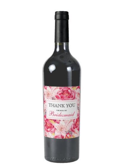 Etiqueta de vino de flor rosa, etiquetas de información de texto personalizables, pegatinas de regalo de champán para dama de honor