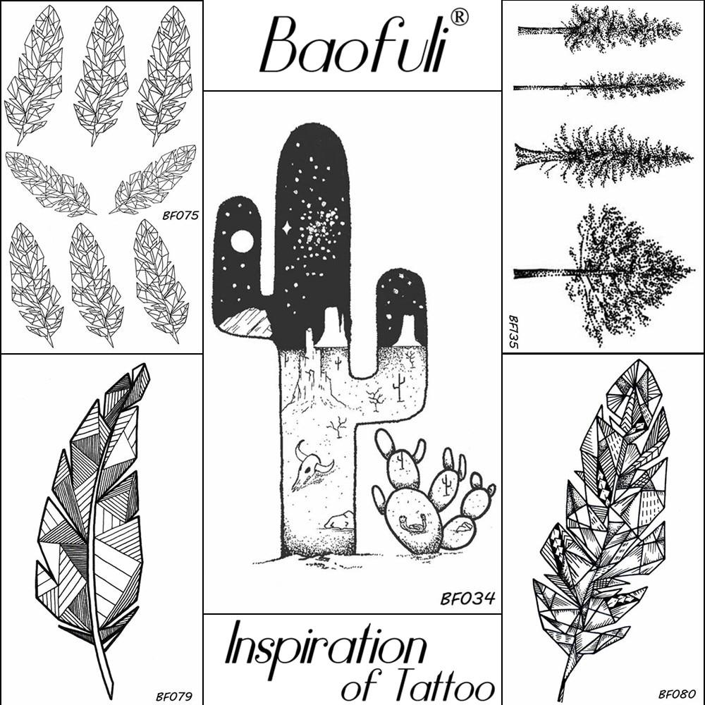 BAOFULI Black Temporary Male Body Art Tattoo Desert Cactus Dark Universe Stars Tatoos Water Transfer Decal Fake Tattoo Stickers