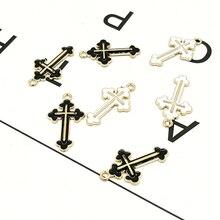 10 pièces croix émail Bracelet à breloques ajustement bricolage ton or métal pendentif goutte huile jésus breloque pour boucle doreille bijoux accessoires YZ149