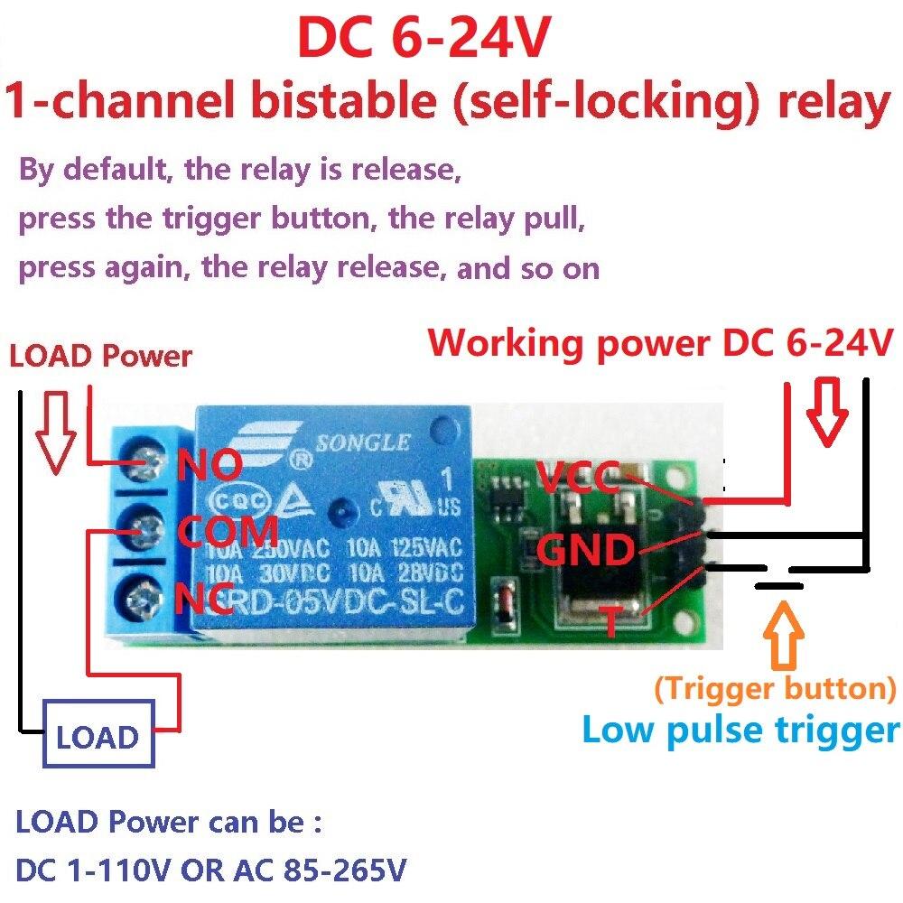 2X 6V DC 9V 12V 24V Flip-Flop cierre relé módulo biestable-Interruptor de bloqueo tablero de disparo de bajo pulso para Arduino casa inteligente LED