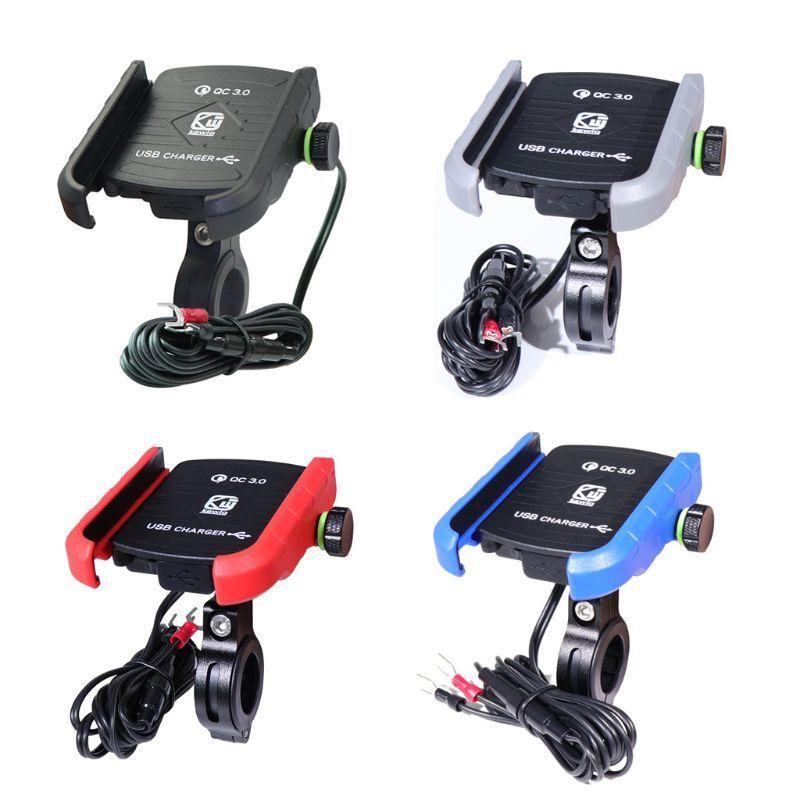 Soporte para teléfono móvil para motocicleta soporte GPS para teléfono móvil Moto con cargador USB QC 3,0 resistente al agua