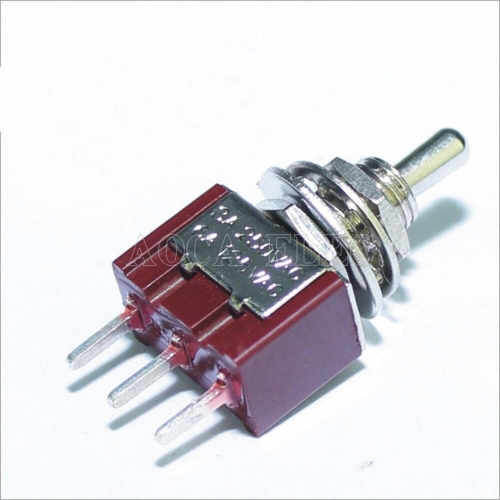 100 Uds. MTS-102-C2 interruptor de conmutación PCB 6MM 3A 250VAC 6A 125VAC 3 pines SPDT encendido Color rojo con actuador corto y Terminal PCB