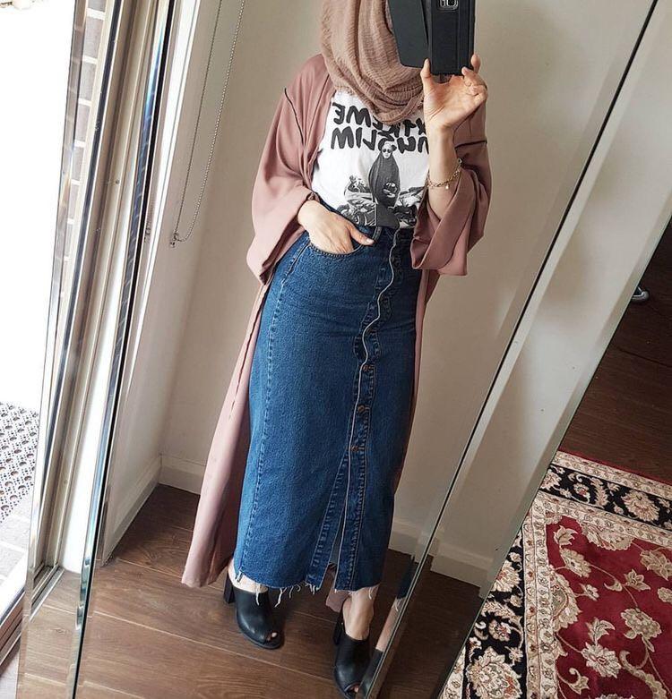 As Mulheres muçulmanas Saia Azul Emagrecimento Vestuário Islâmico Denim Jeans Saias Lápis Longos Botões Decorados Bottoms Tamanho Azul Mais Novo