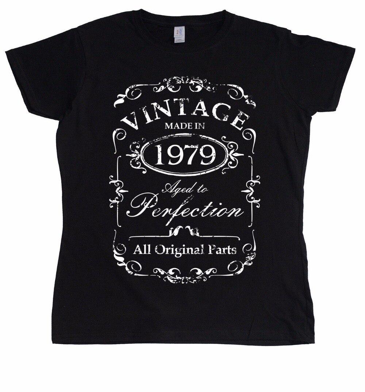 Camiseta de diseño 2019 nueva camiseta fresca de manga corta para mujer Vintage 1979 camiseta estampada