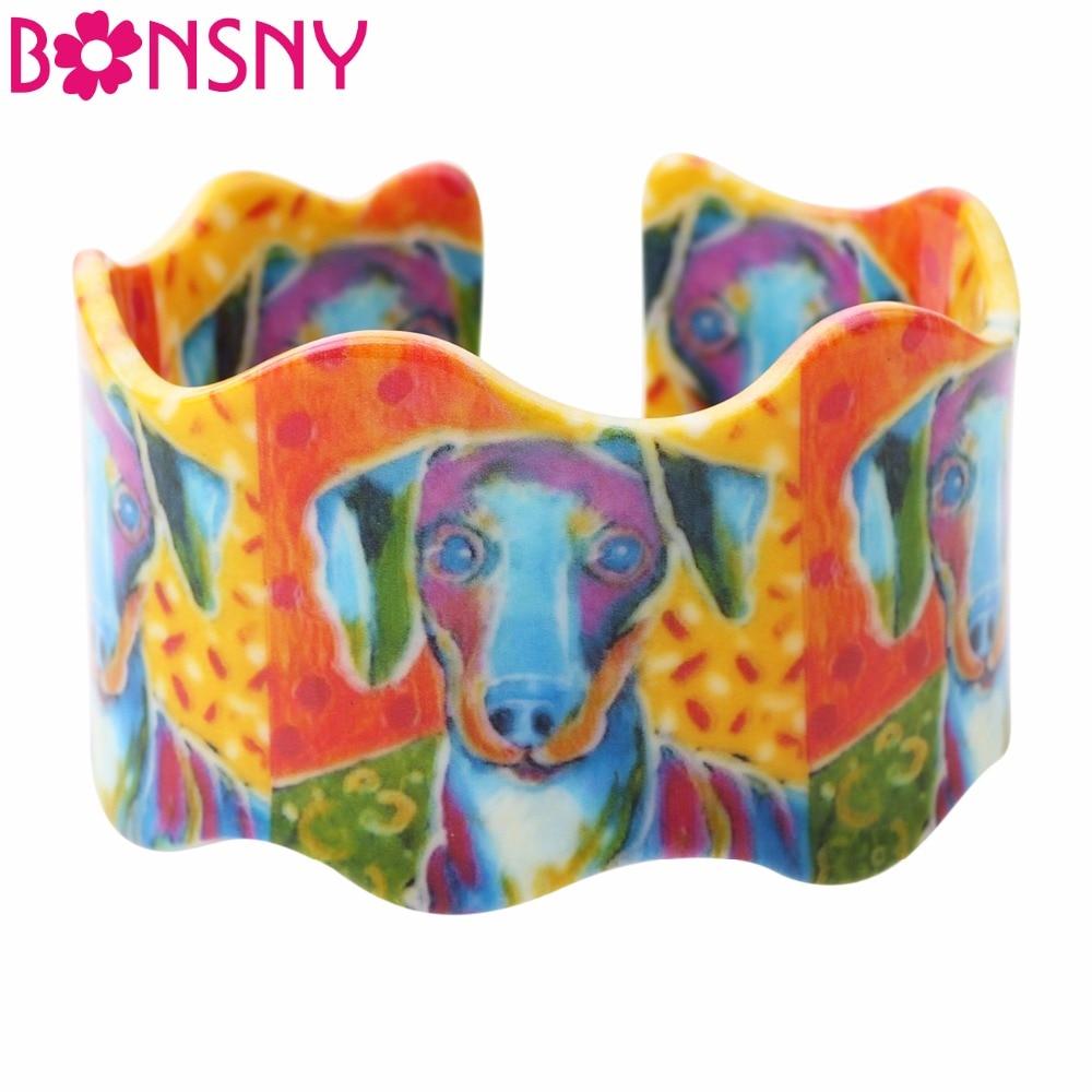 Bonsny Acrílico Amor Grande Jack Russell Terrier Pulseiras Pulseiras Para As Mulheres 2017 Nova Moda Animal Cão Presentes de Jóias Bijoux