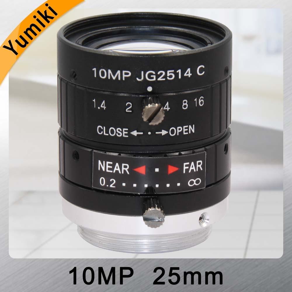 Объектив камеры видеонаблюдения Yumiki HD 10MP 25 мм F1.4 крепление диафрагмы C для камеры видеонаблюдения или промышленного микроскопа дорожное на...