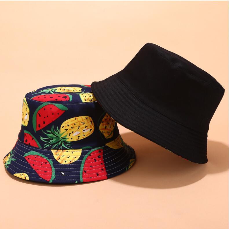 2019 Two Side Reversible Fruit Cherry bucket hat for men women fisherman hat panama bob hat summer pineapple,watermelon,lemon