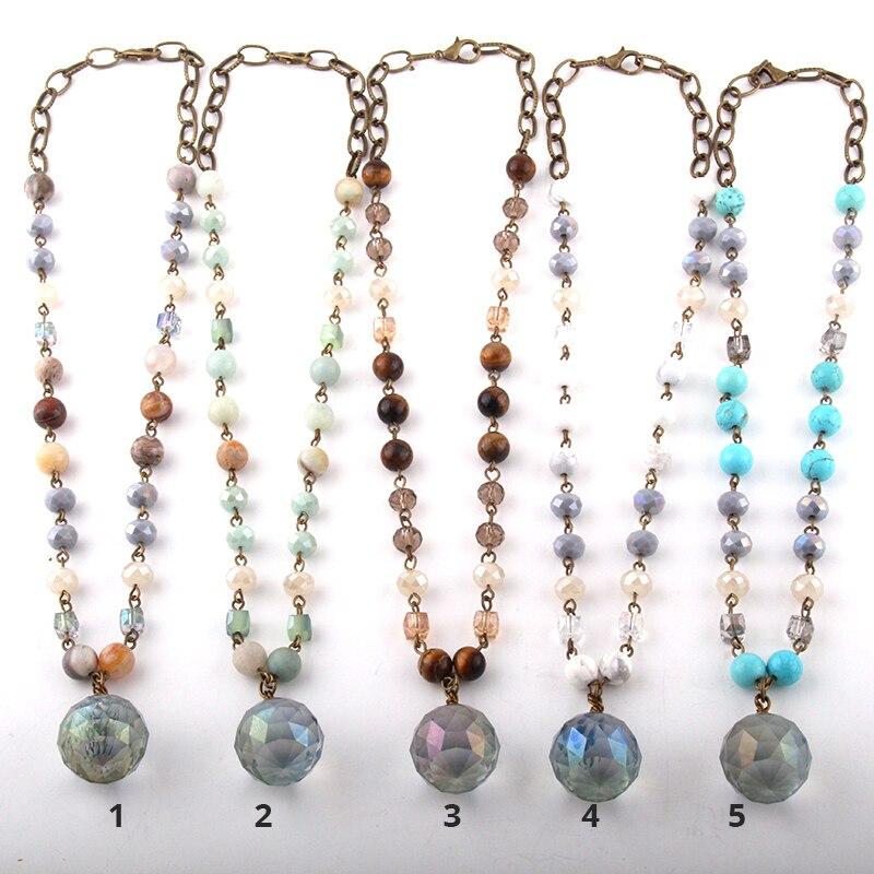 תכשיטים טבעי אבן & זכוכית קריסטל ארוך שרשרת זכוכית Boll תליון שרשראות לנשים אתני שרשרת