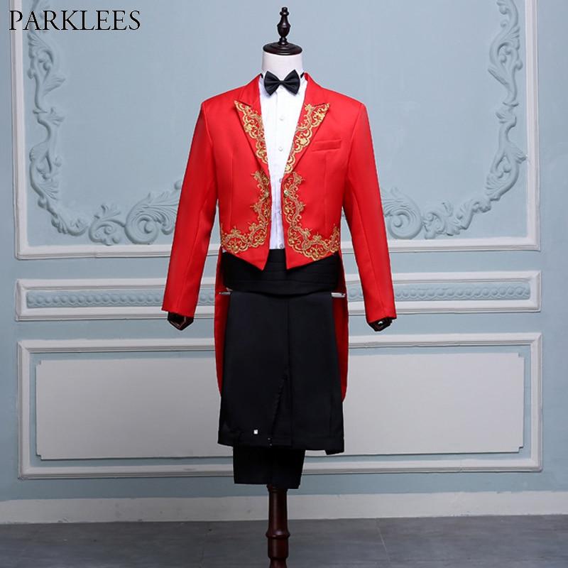 Traje de esmoquin rojo bordado dorado 4 Uds para hombre (chaqueta + Pantalones + Blet + corbata), Conductor de marca, mago pianista, traje de Tailcoat para graduación, traje para hombre